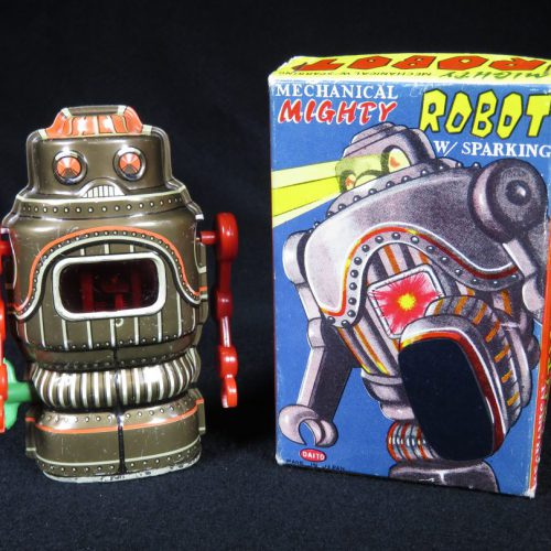 Antique Vintage Tin Lithograph Space Mechanical Mighty Robot Wind-Up Toy Japan