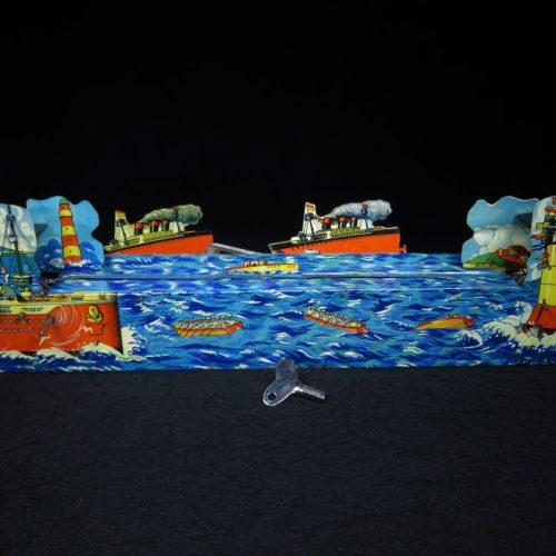 Vintage Antique Tin Lithograph Mechanical Ship Plane Boat Diorama Wind-up Toy Germany