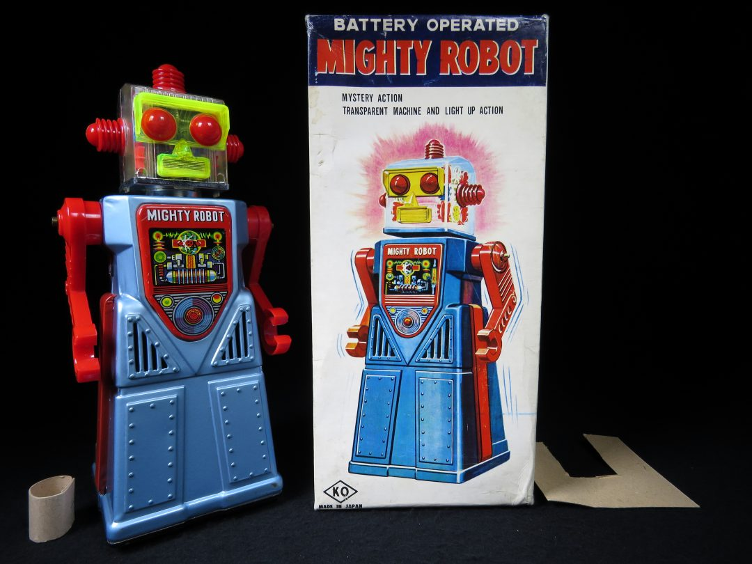 Antique Vintage Tin Lithograph Space Mighty Robot Battery Operated Toy KO Yoshiya Japan