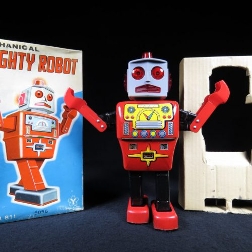 Antique Vintage Tin Lithograph Space Mighty Robot Battery Operated Toy Yonezawa Japan