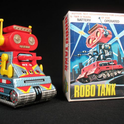 Antique Vintage Tin Lithograph Space Mini-Robot Tank Rt-8 Battery Operated Toy Nomura Japan