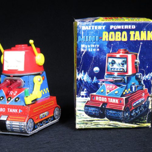 Antique Vintage Tin Lithograph Space Mini-Robot Tank Tr-2 Battery Operated Toy Nomura Japan