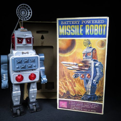Antique Vintage Tin Lithograph Space Missile Robot Battery Operated Toy ALPS Japan Japanese