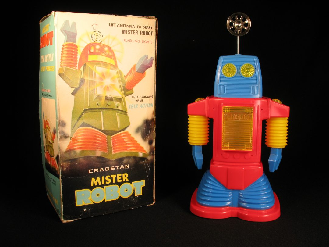 Antique Vintage Tin Lithograph Space Mister Robot Battery Operated Toy Cragstan Japan Japanese