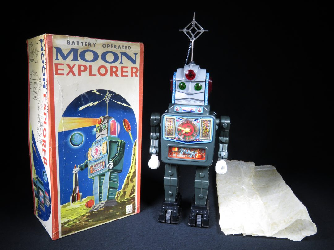 Antique Vintage Tin Lithograph Space Moon Explorer Robot Battery Operated Toy ALPS Japan Japanese