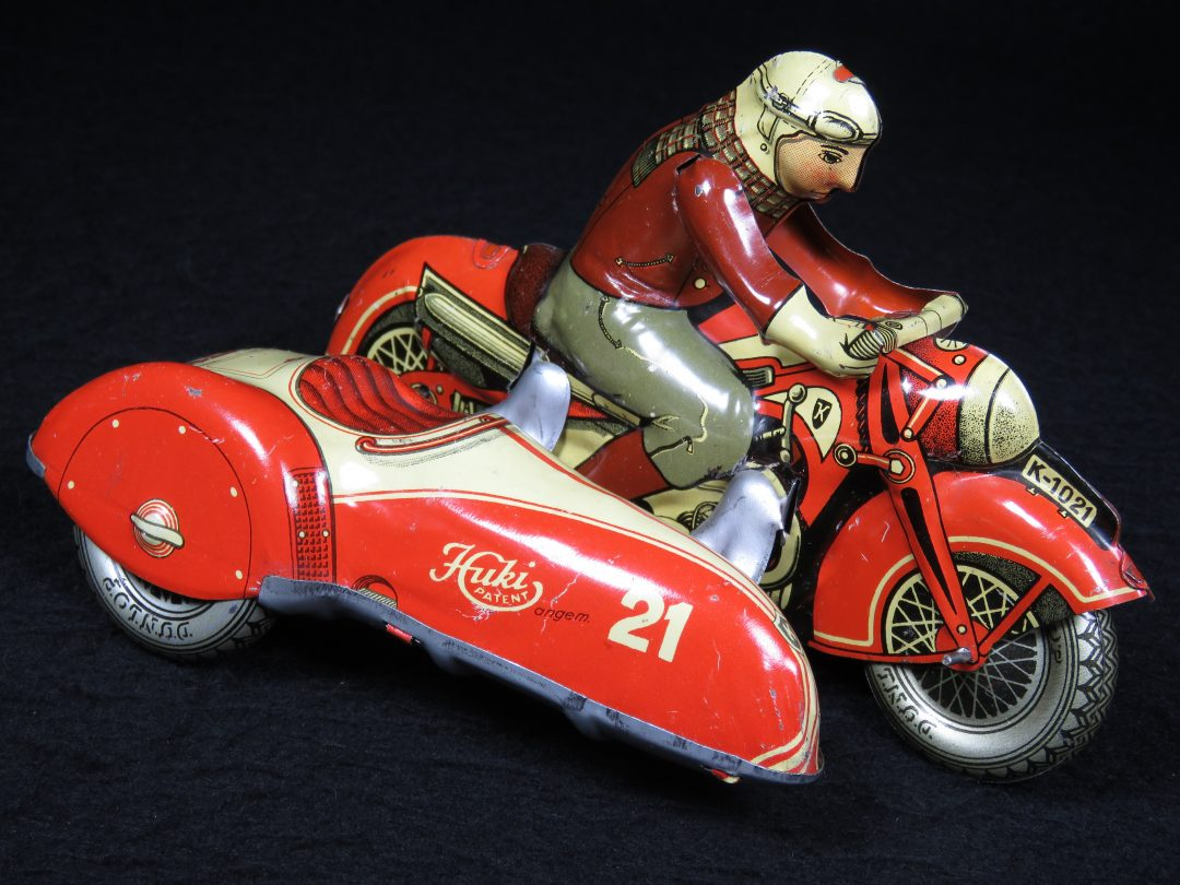 Vintage Antique Tin Lithograph Motorcycle Bike with Sidecar #21 Wind-up Toy Huki US Zone Germany