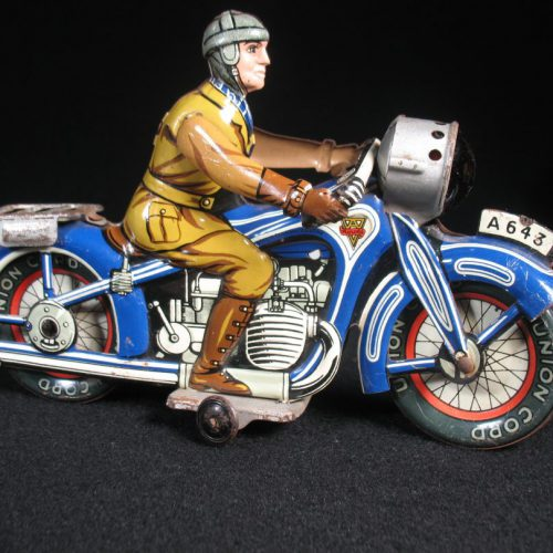 Vintage Antique Tin Lithograph Motorcycle Bike A643 with Rider Wind-up Toy Arnold US Zone Germany