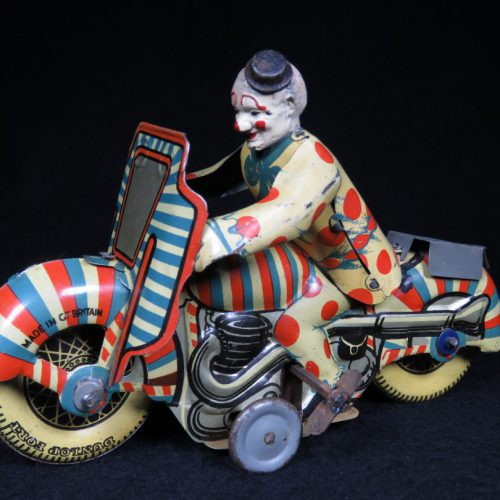 Vintage Antique Tin Lithograph Motorcycle Bike Clown 1st Prize Wind-up Toy Met Toy Great Britain