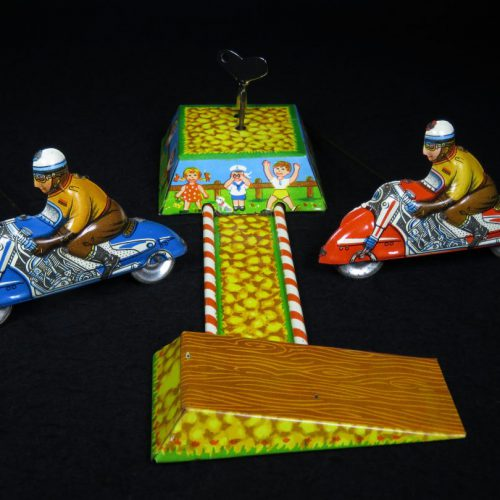 Vintage Antique Tin Lithograph Motorcycle Bike Go Around with Ramp Wind-up Toy Huki Japan