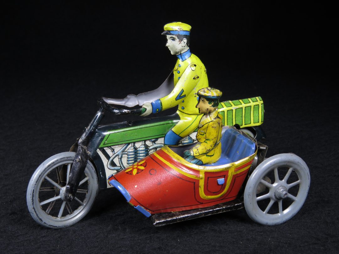 Rare Early Vintage Antique Tin Lithograph Motorcycle Bike with Sidecar and Drive Passenger Wind-up Toy Distler Germany