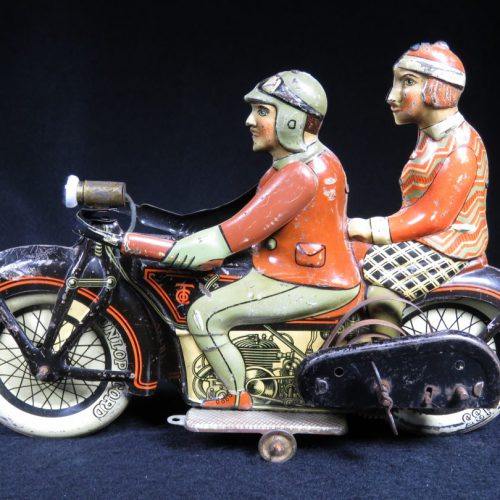Rare Vintage Antique Tin Lithograph Motorcycle Bike with Passenger Wind-up Toy Tippco Germany