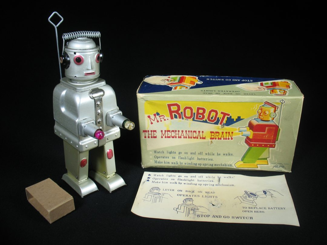 Antique Vintage Tin Lithograph Space Mr. Robot Mechanical Brain Battery Operated Toy ALPS Japan
