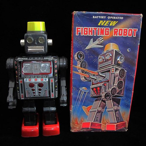 Antique Vintage Tin Lithograph Space New Fighting Robot Battery Operated Toy Horikawa Japan