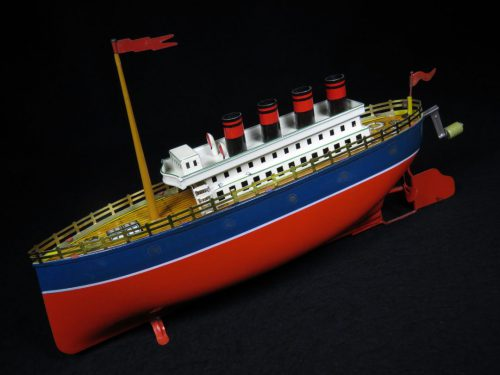 Vintage Antique Tin Lithograph Ocean Liner Ship Boat four Smoke Stacks Wind-up Toy Arnold Germany