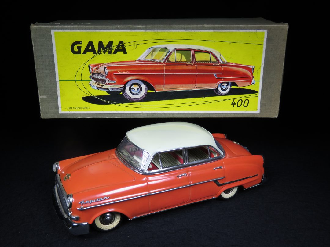 Vintage Antique Tin Lithograph Opel Kapiton 400 Car Vehicle Friction Toy Gama West Germany