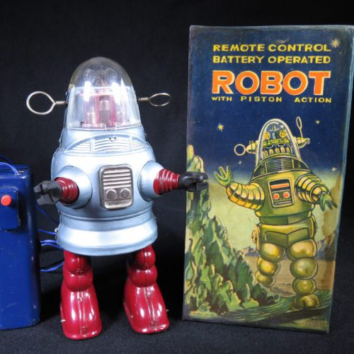 Antique Vintage Tin Lithograph Space Piston Action Pug Robby Robot Battery Operated Toy Nomura Japan