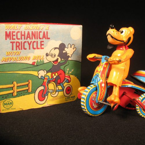 Vintage Antique Tin and Celluloid Walt Disney Pluto on Mechanical Tricycle Bike Wind-up Toy Linemar Japan