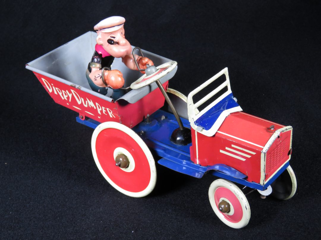 Vintage Antique Tin and Celluloid Popeye Dippy Dumper Car Wind-up Toy Marx Japan