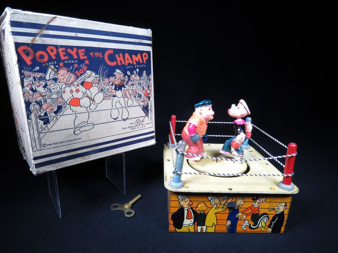 Vintage Antique Tin Lithograph and Celluloid Popeye the Champ Boxing Fighting Wind-up Toy Marx Japan