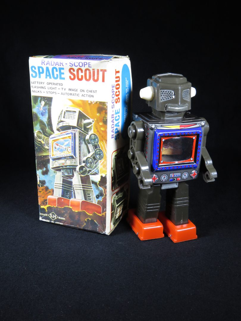 Antique Vintage Tin Lithograph Radar Scope Space Scout Robot Battery Operated Toy Horikawa Japan Japanese
