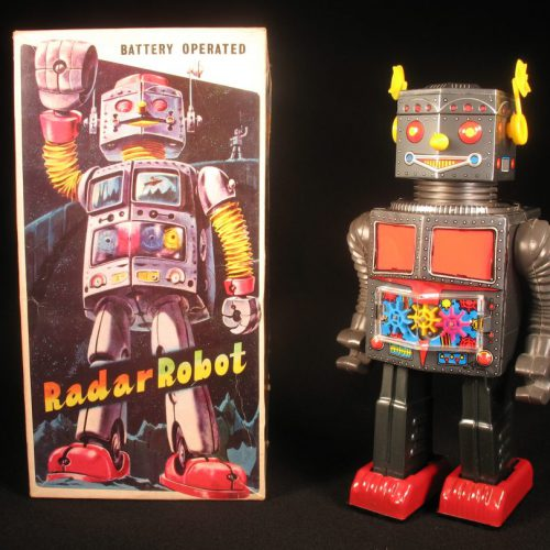 Antique Vintage Tin Lithograph Space Radar Topolino Robot Battery Operated Toy T.N Nomura Japan