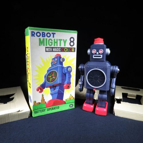 Antique Vintage Tin Lithograph Space Robot Mighty 8 Battery Operated Toy Masudaya Japan Japanese