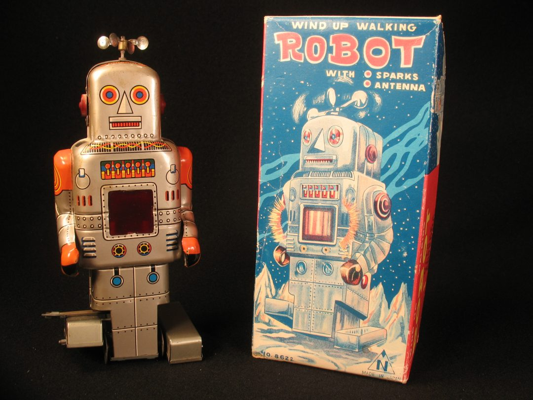 Antique Vintage Tin Lithograph Space Walking Robot Wind-Up Toy Japan