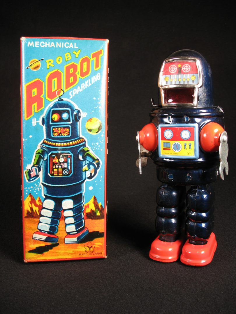 Antique Vintage Tin Lithograph Space Roby Robot Wind-Up Toy Yonezawa Japan