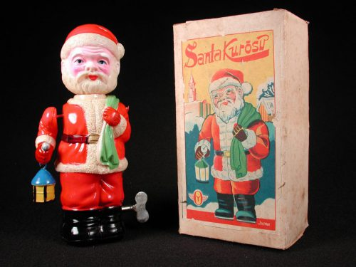 Vintage Antique Tin and Celluloid Santa Claus Kurosu Wind-up Toy Okabe Prewar Japan
