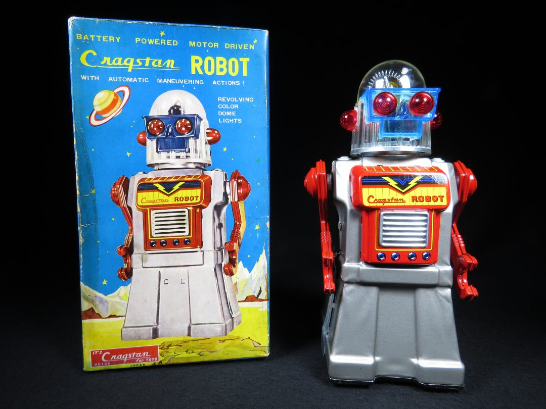 Antique Vintage Tin Lithograph Space Silver Cragstan Robot Battery Operated Toy Yonezawa Japan