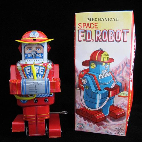 Antique Vintage Tin Lithograph Space Fire Department Robot Wind-Up Toy Yoneya Japan