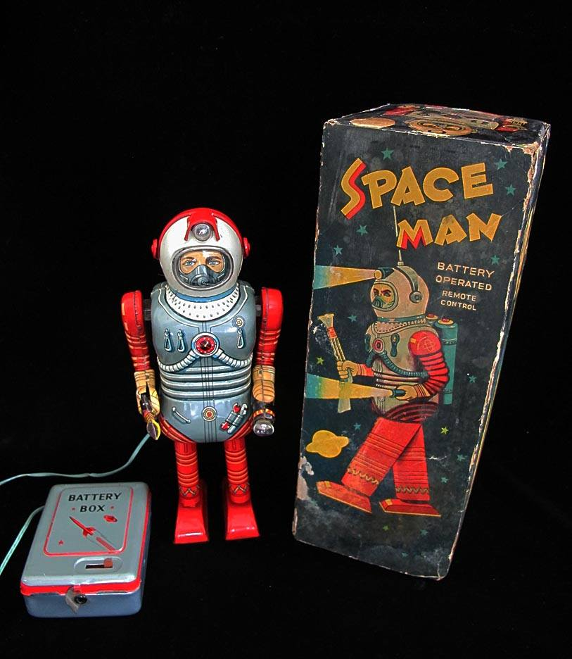 Antique Vintage Tin Lithograph Space Space Man Astronaut Robot Battery Operated Toy Nomura Japan