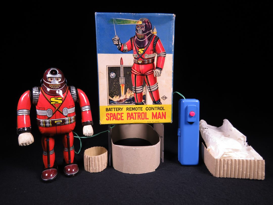 Rare Antique Vintage Tin Lithograph Space Patrol Man Astronaut Robot Battery Operated Toy T.N Nomura Japan