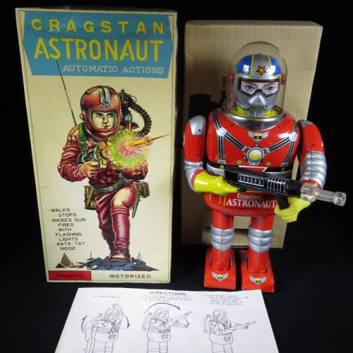 Antique Vintage Tin Lithograph Space Cragstan Astronaut Robot Battery Operated Toy Daiya Japan