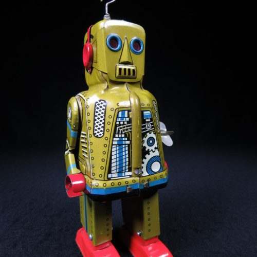 Antique Vintage Tin Lithograph Sparky Space Robot Wind-Up Toy Yoshiya Japan