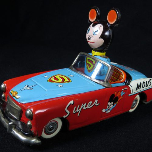 Vintage Antique Tin Lithograph Super Man Mouse Car Wind-up Toy Japan