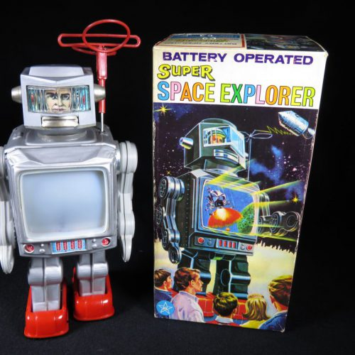 Antique Vintage Tin Lithograph Super Space Explorer Robot Battery Operated Toy Japan Japanese