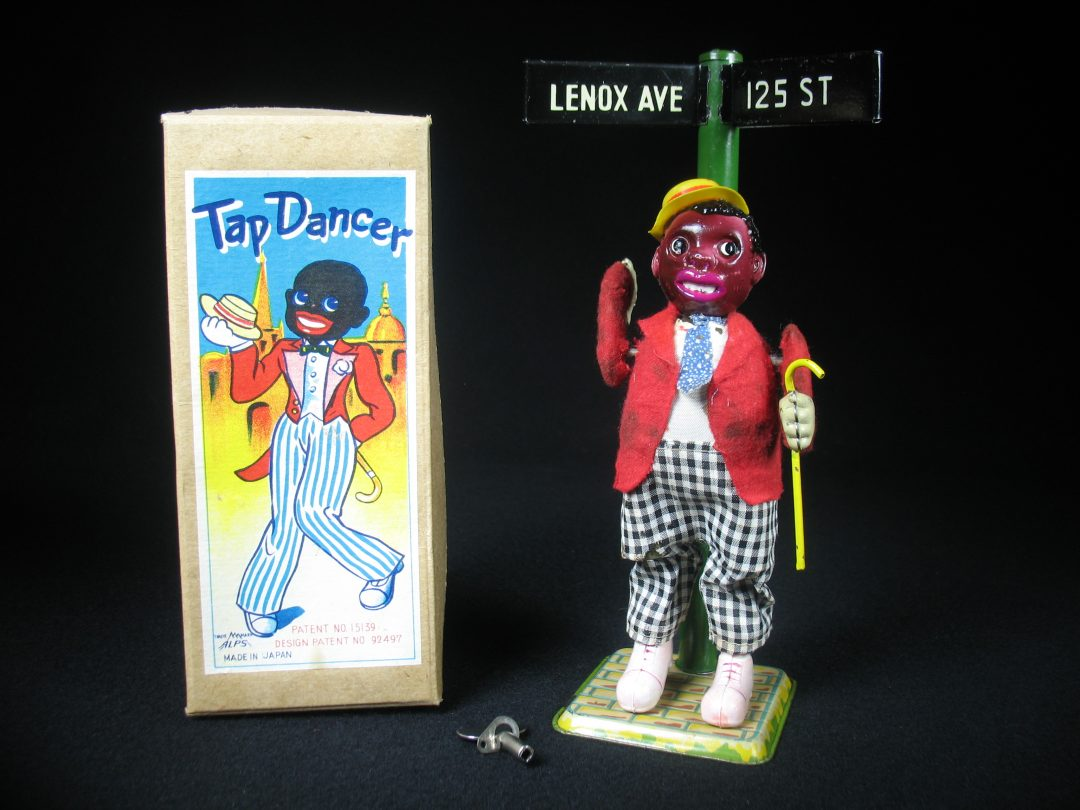 Vintage Antique Tin and Celluloid Black Americana Tap Dancer Man Lenox Ave. Wind-up Toy ALPS Occupied Japan