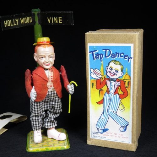 Vintage Antique Tin and Celluloid Fred Astaire Tap Dancer on Hollywood Wind-up Toy ALPS Japan