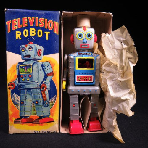 Rare Antique Vintage Tin Lithograph Television Space Robot Wind-Up Toy Sankei Japan