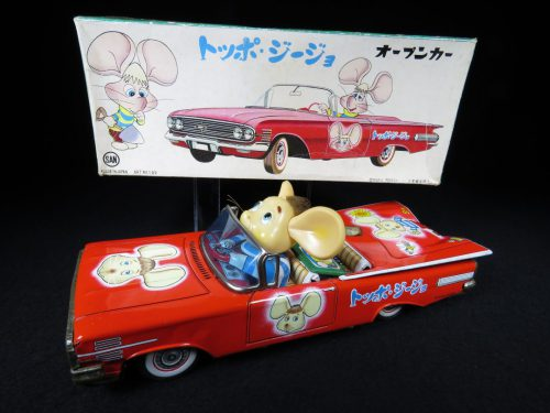 Vintage Antique Tin Lithograph Topo Gigio Mouse Car Wind-up Toy Marusan Japan