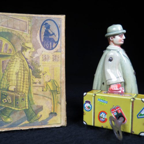 Vintage Antique Tin Lithograph Traveling Salesman with Suit Case Wind-up Toy Voit Western Germany