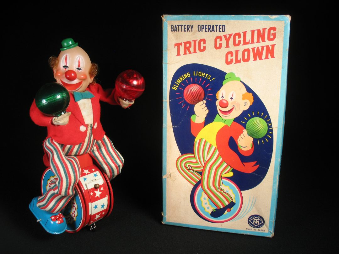 Vintage Antique Tin Lithograph Battery Operated Tric Cycling Clown Circus Toy Masudaya Japan