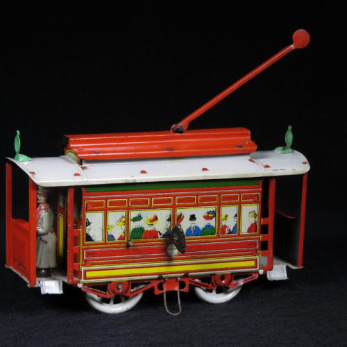 Vintage Antique Tin Lithograph Trolley Train Car Vehicle Wind-up Toy Orobr Germany
