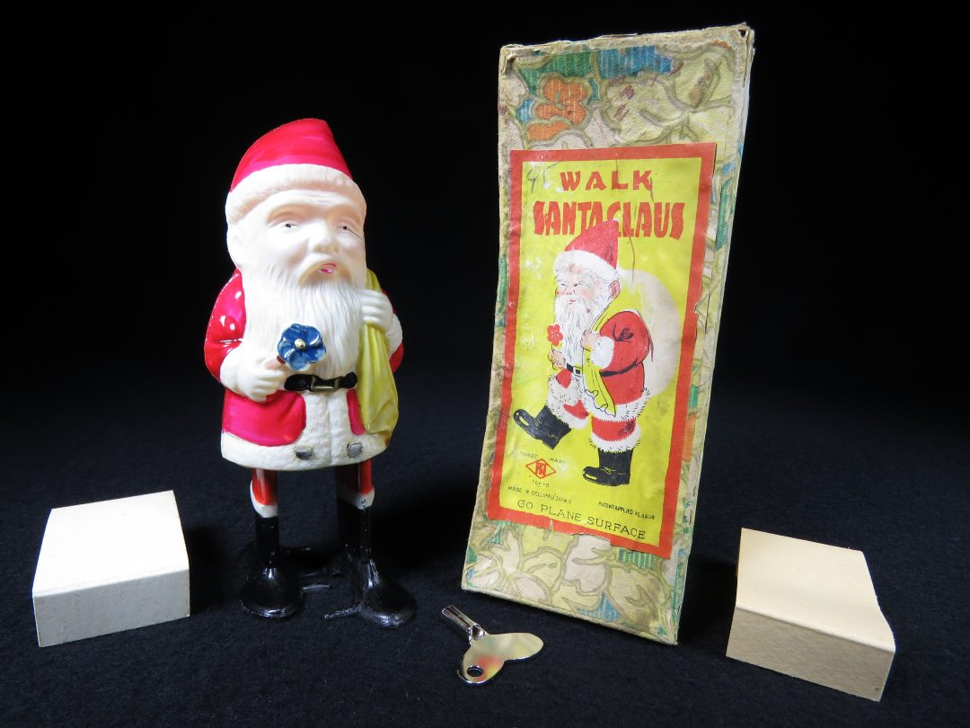 Vintage Antique Tin and Celluloid Walk Santa Claus Wind-up Toy Occupied Japan