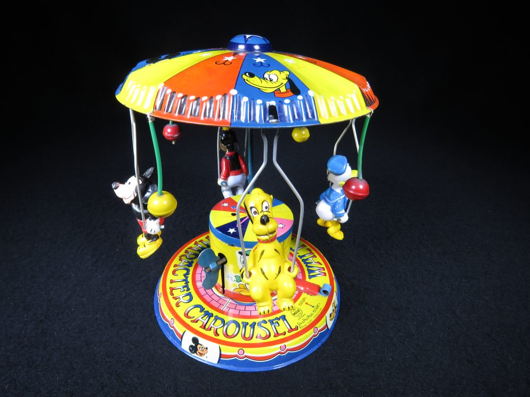 Vintage Antique Tin and Celluloid Walt Disney Mickey Mouse Donald Duck Goofy Carousel Wind-up Toy Linemar Japan