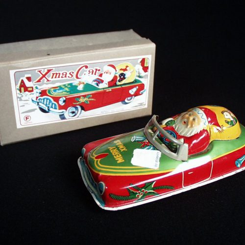 Vintage Antique Tin Lithograph Santa Claus X-Mas Car Wind-up Toy Japan