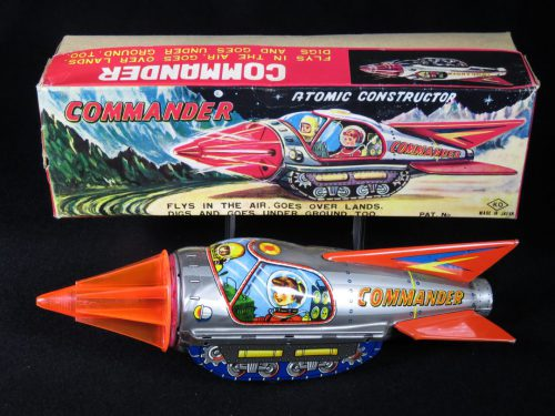 Antique Vintage Atomic Constructor Commander - KO, Yoshiya – Japan Tin Lithograph Friction Powered Futuristic Space Tank with Huge Drill in Original Box For Sale