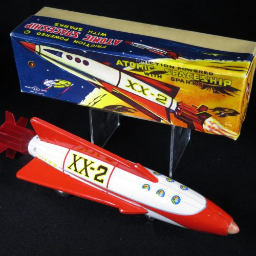 Antique Vintage Atomic Spaceship XX-2 Rocket - T.N, Nomura – Japan Tin Lithograph Friction Powered Futuristic Space Toy For Sale
