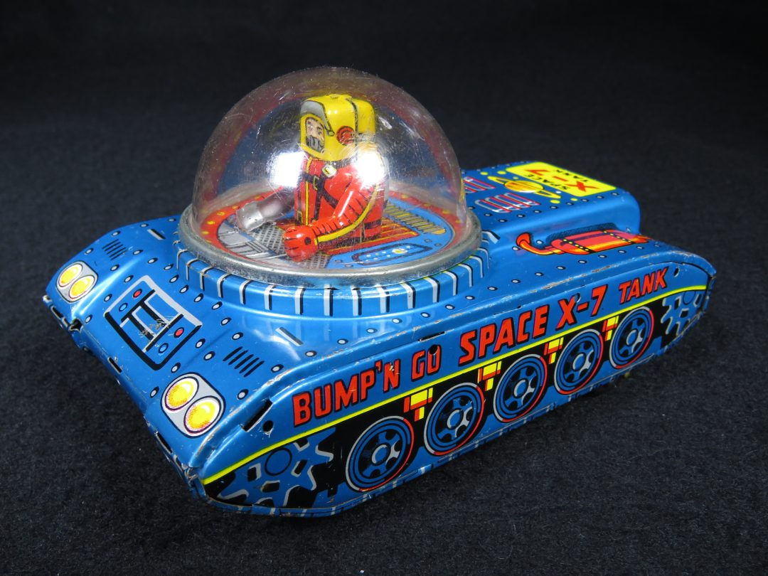 Antique Vintage Bump'N Go X-7 Space Tank - KO, Yoshiya – Japan Tin Lithograph Friction Powered Futuristic Space Vehicle Car Toy For Sale with Astronaut